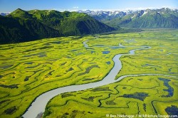 Aerial of the Copper River Delta, Chugach National Forest, Alaska.