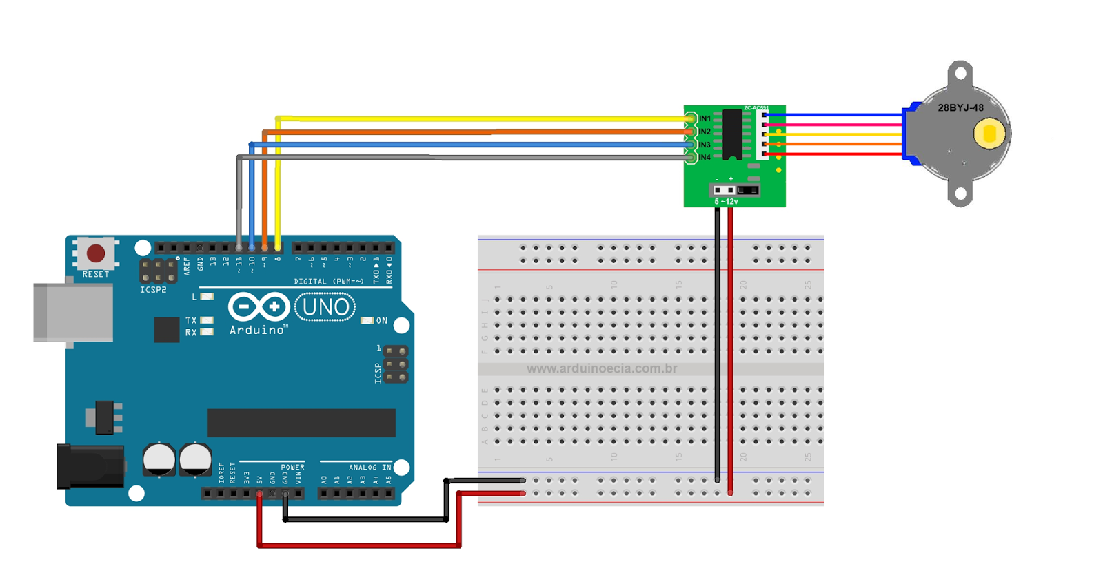 Unipolar Stepper Motor 28 Byj48 Wiring Diagram For Gfci And Light Switch Moreover A To Arduino